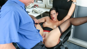 Hot milf with sexy tattoos office fucking
